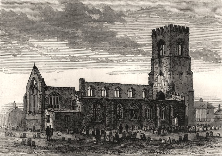 Associate Product Wells Church, Norfolk, destroyed in the late thunderstorm, antique print, 1879