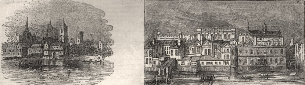 Associate Product Westminster about 1660; Whitehall, as it appeared before the fire of 1691, c1843