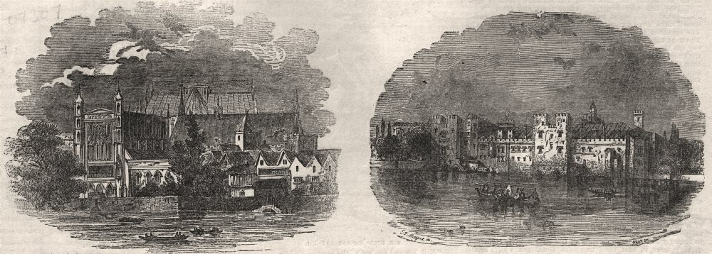 Associate Product Houses of Parliament from the river, time of Charles II; Savoy Palace, c1843