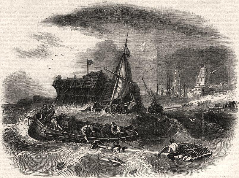 Associate Product Calais harbour, after Stanfield. Pas-de-Calais, antique print, 1843