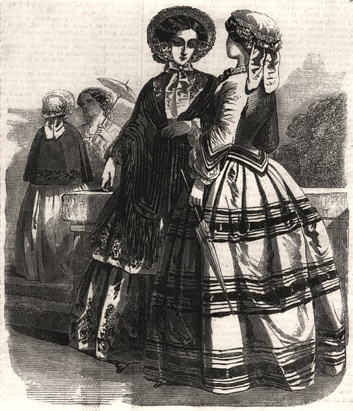 Associate Product Paris fashions for May, antique print, 1852