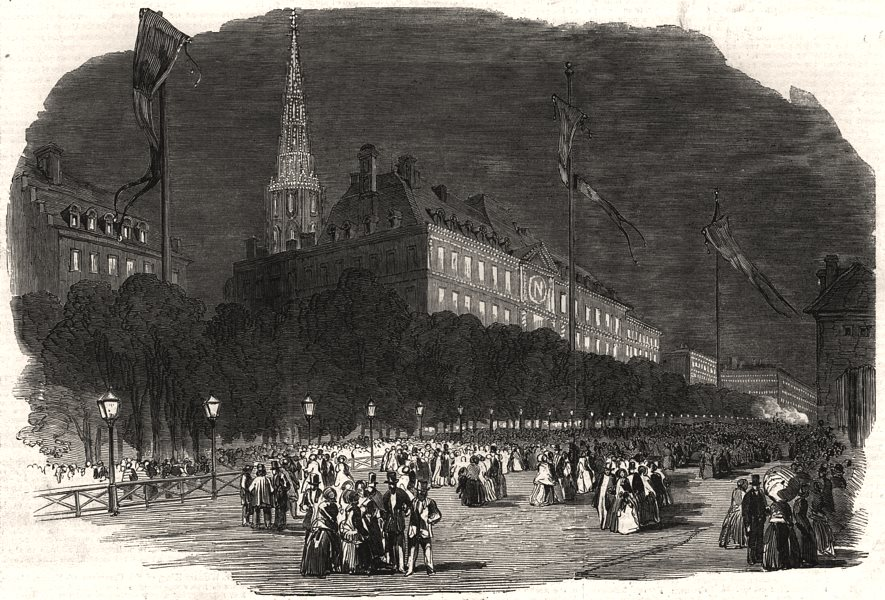 Associate Product Fetes at Strasbourg. The illumination at Strasbourg. Bas-Rhin, old print, 1852