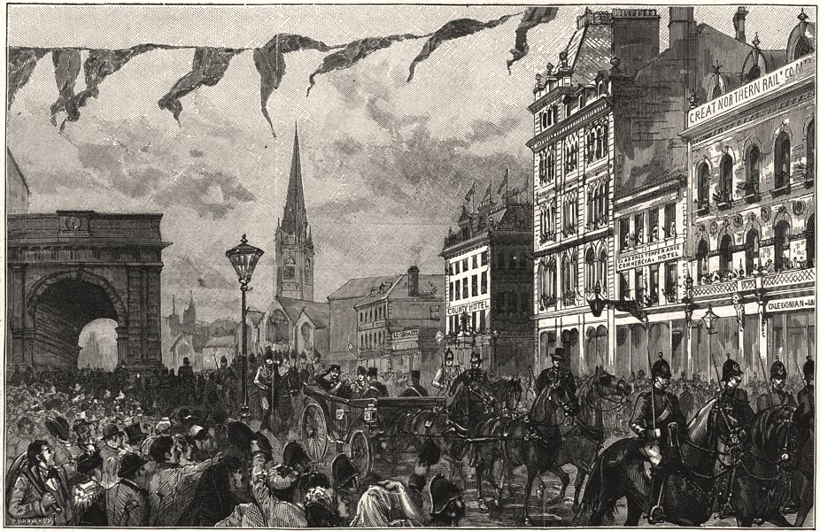 Associate Product The Shah at Newcastle-on-Tyne: procession through the town. Northumberland, 1889