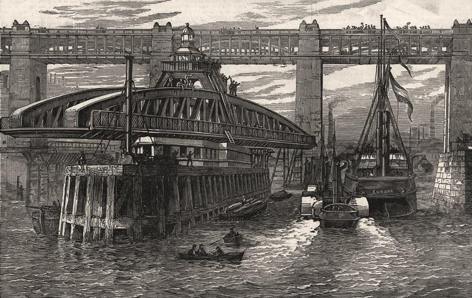 Associate Product Opening of the new swing bridge at Newcastle-on-Tyne. Northumberland, 1889