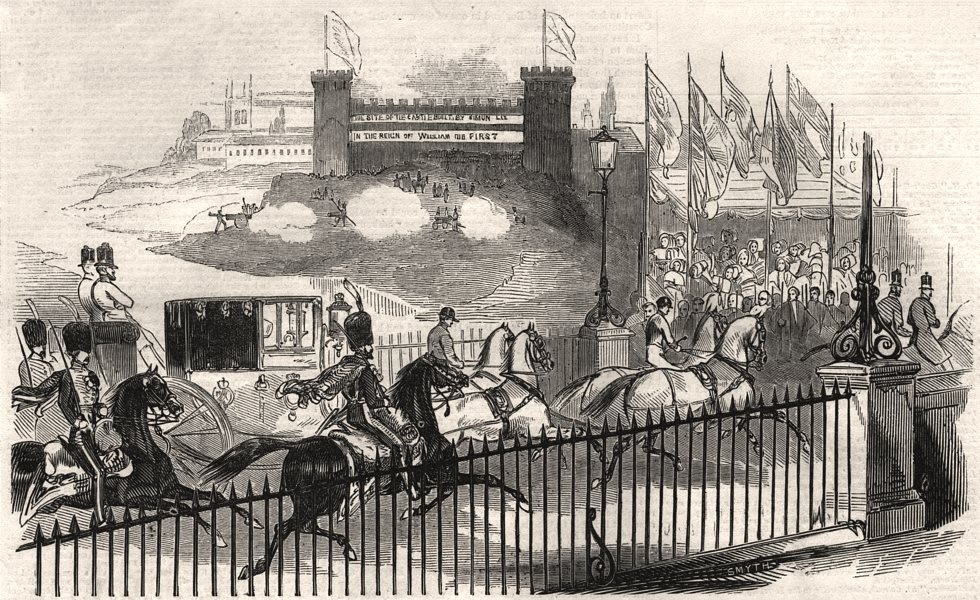"""Associate Product Her Majesty passing """"The Castle"""" Northampton. Northamptonshire, old print, 1844"""