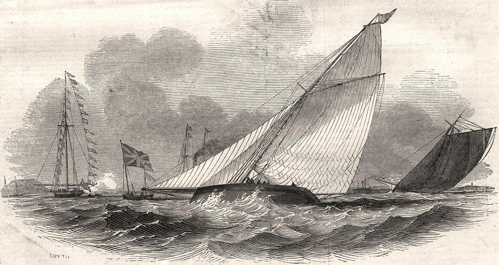 Associate Product Weston-Super-Mare Regatta - the champion winning. Somerset, antique print, 1845