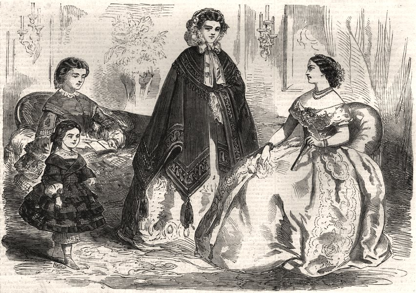 Associate Product Fashions for November. Pretty Ladies, antique print, 1857