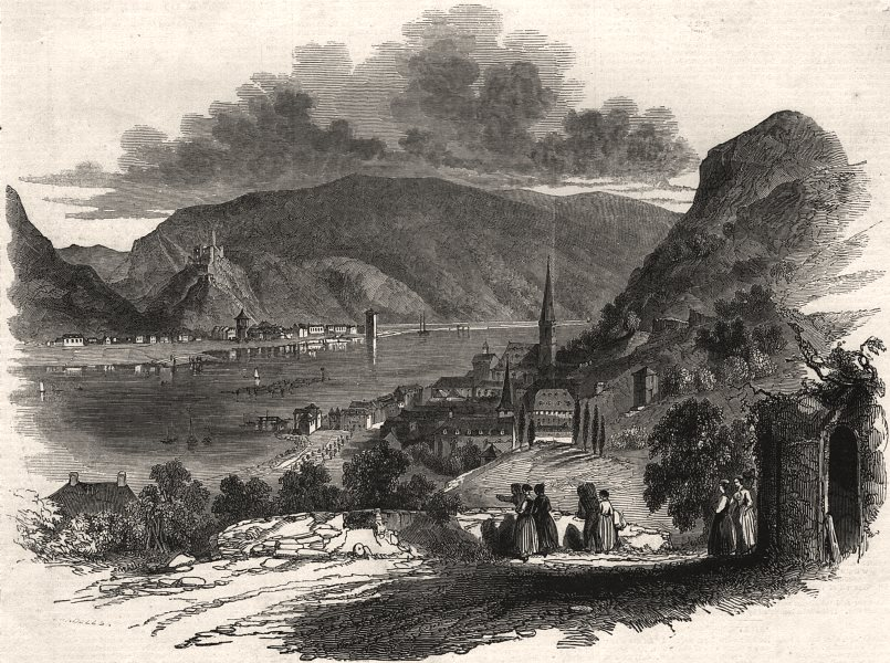 Associate Product St. Goar, on the Rhine. Germany, antique print, 1845