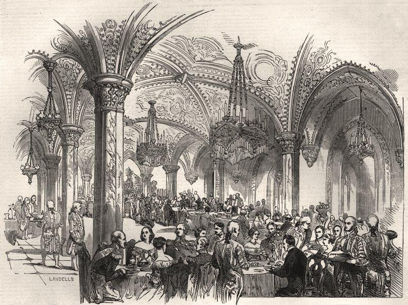 Associate Product The Royal banquet, at Rosenau. Bavaria, antique print, 1845