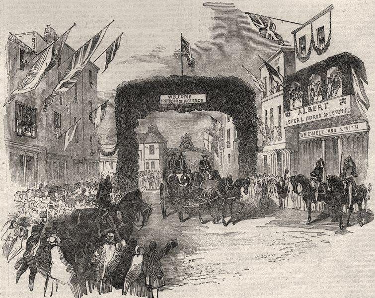 Associate Product Triumphal arch in Tavern Street, Ipswich. Prince Albert visiting. Suffolk, 1851