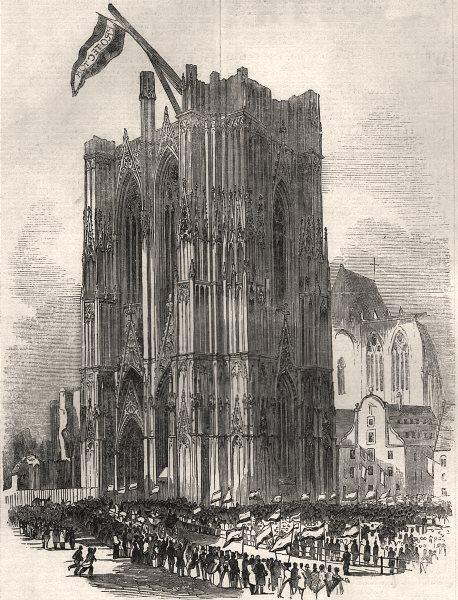 Associate Product Her Majesty's visit to the cathedral, at Cologne. Germany, antique print, 1845