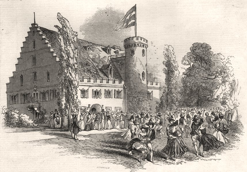 Associate Product Celebration of HRH Prince Albert's birthday, at Rosenau. Bavaria, print, 1845