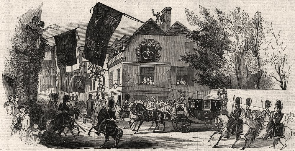 Associate Product Trinity Street - Royal Progress to the senate house. Cambridge, old print, 1843