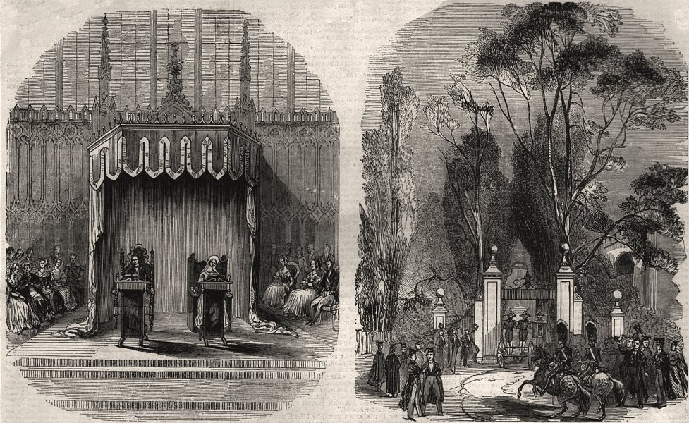 Associate Product Throne in King's College Chapel; St. John's Gate. Cambridgeshire, print, 1843
