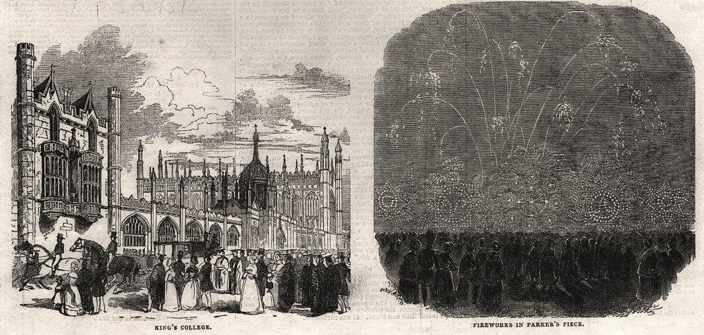 Associate Product King's College; fireworks in Parker's Piece. Cambridge, antique print, 1843