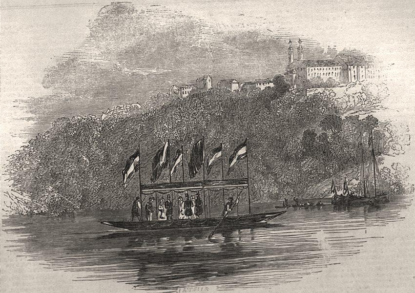 Associate Product Queen Victoria crossing the Maine, at Langfort, Bavaria, antique print, 1845