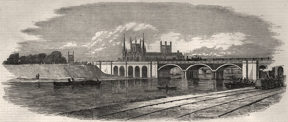 Associate Product Opening of the Great Northern Railway. The railway line at Peterborough, 1850