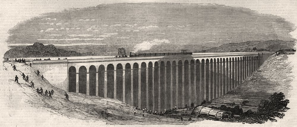 Associate Product Opening of the Great Northern Railway. The Welwyn viaduct. Hertfordshire, 1850