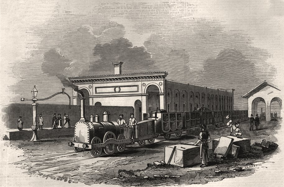 Associate Product Cambridge station. Cambridgeshire, antique print, 1845