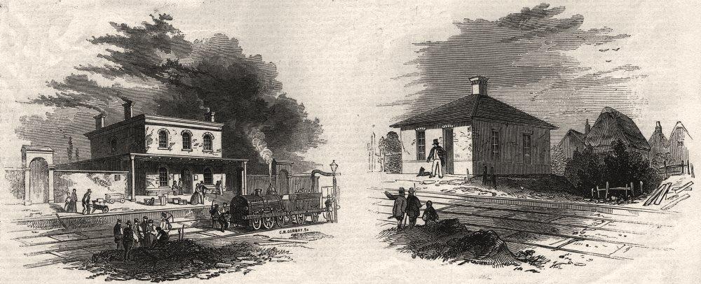 Associate Product Wendon Station; Ickleton Station. Cambridgeshire, antique print, 1845