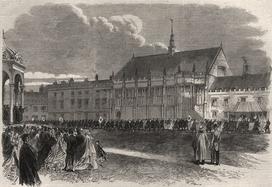Associate Product Volunteer Rifle Corps marching past Prince & Princess Of Wales. Cambridge, 1864