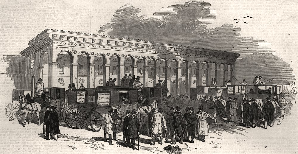 Associate Product Cambridge Chancellorship election. Voters arriving at the railway station, 1847