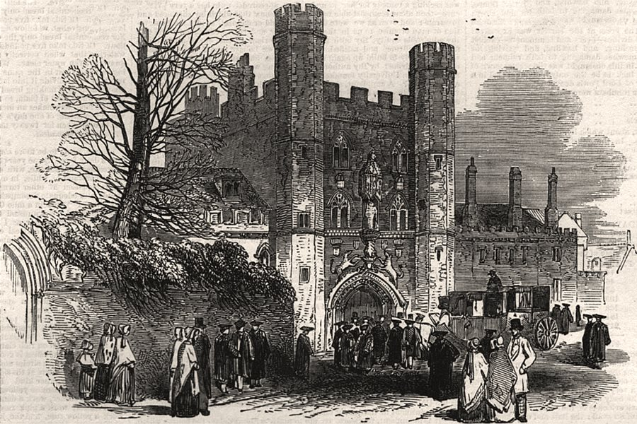 Associate Product Gateway of St. John's College. Cambridgeshire, antique print, 1847