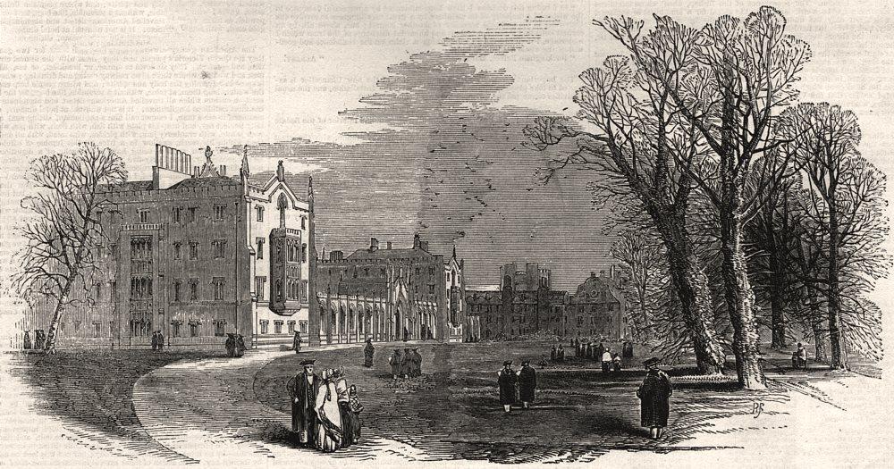 Associate Product St. John's College - (Earl Powis's) - from the garden. Cambridge, print, 1847