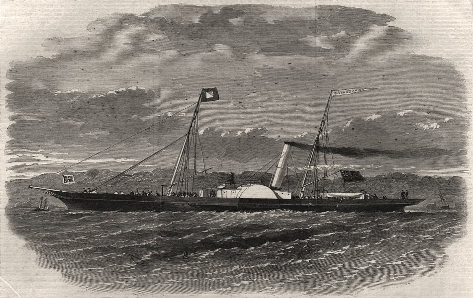 Associate Product The London and Ipswich Company's new packet Queen of the Thames, old print, 1861