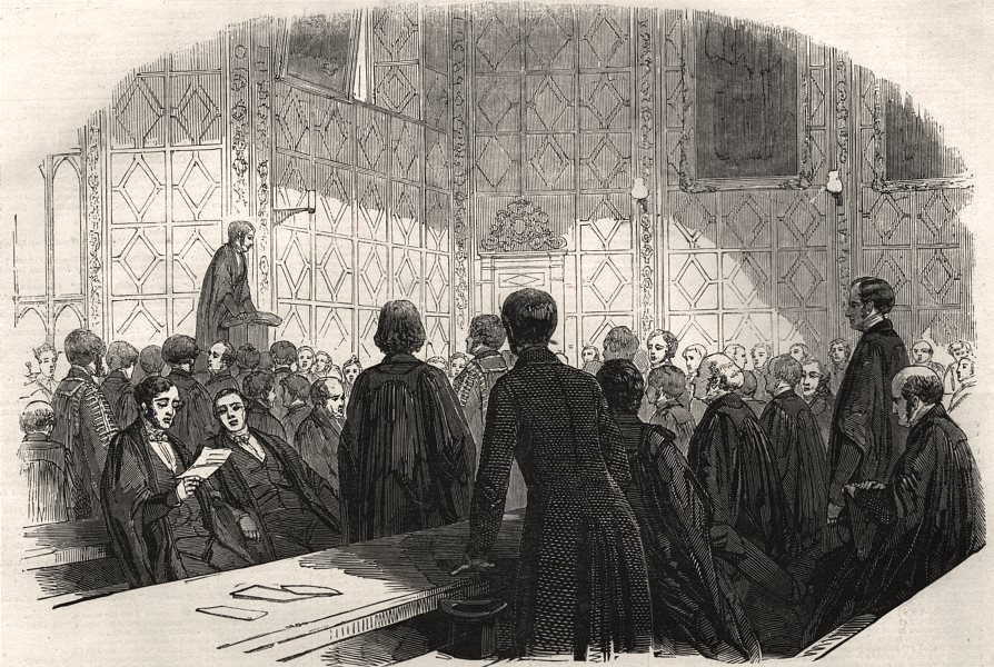 Associate Product Hall of Trinity College, Cambridge - delivery of the orations, old print, 1847