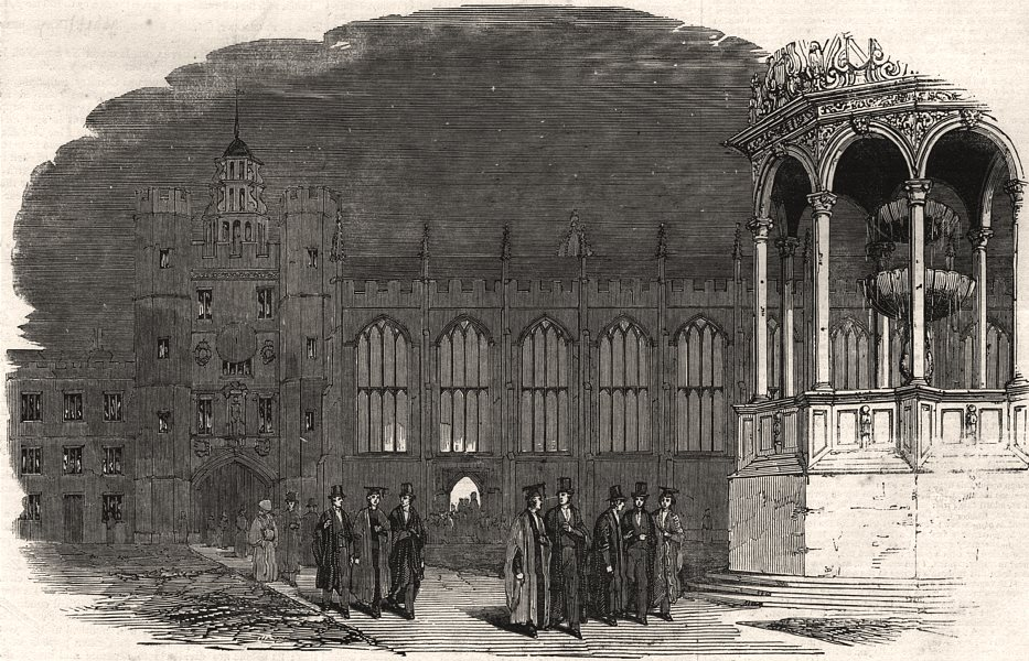 Associate Product Great/Bishop's Court, Trinity College, Cambridge. Leaving church. Hall, 1847