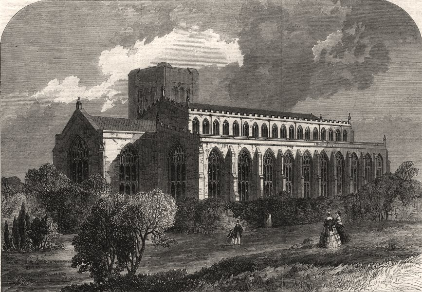 Associate Product The Abbey Church of Bury St. Edmunds, viewed from the gardens. Suffolk, 1860