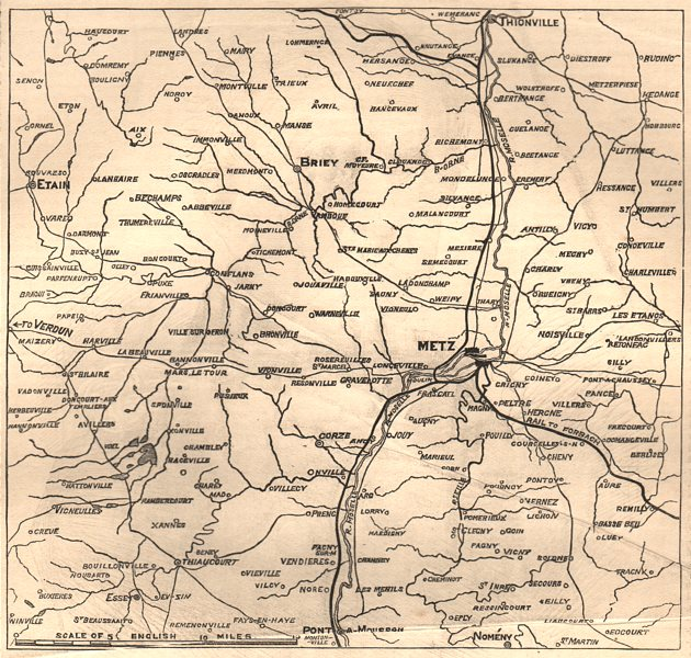 Associate Product Map of the country between Metz and Verdun. Moselle, 1870