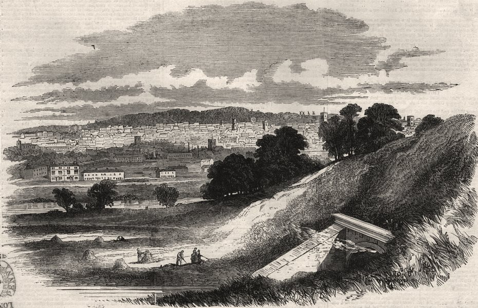 Associate Product View of Ipswich, from Stoke Hill. Suffolk, antique print, 1851