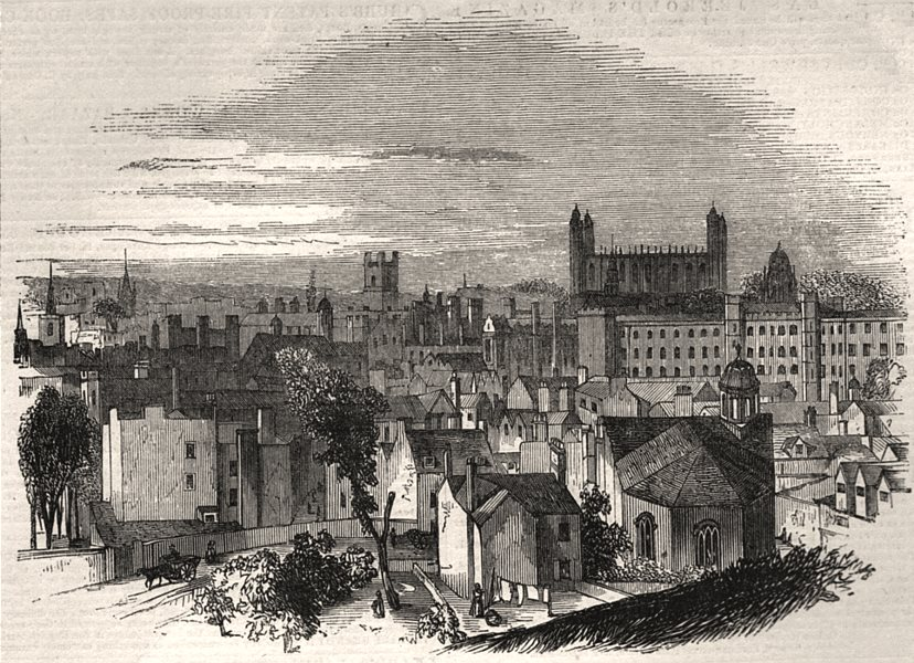 Associate Product Cambridge, from the Castle Hill. Cambridgeshire, antique print, 1843