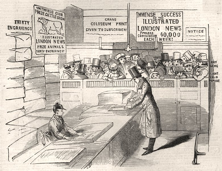 """Associate Product Publishing office of the """"Illustrated London News"""", antique print, 1843"""
