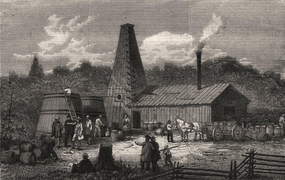 Associate Product The Gordon oil-wells, Canada West, antique print, 1866