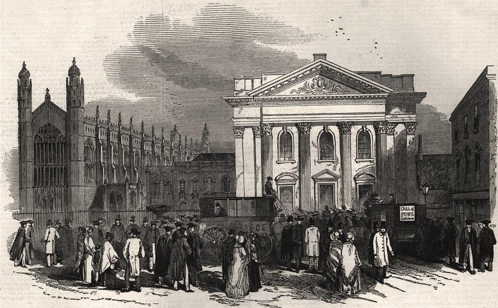 Associate Product The Cambridge Chancellorship election. Exterior of the senate house, print, 1847