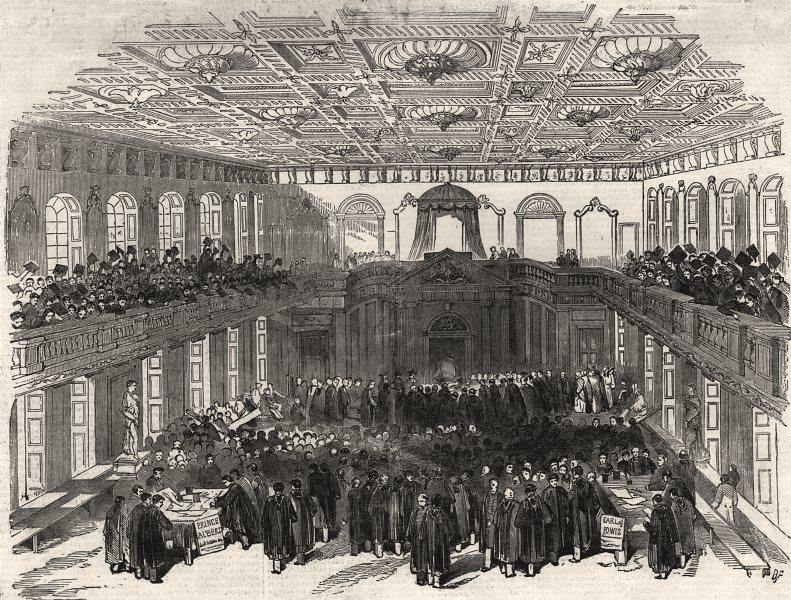 Associate Product The Cambridge Chancellorship election. Interior of the senate house, print, 1847
