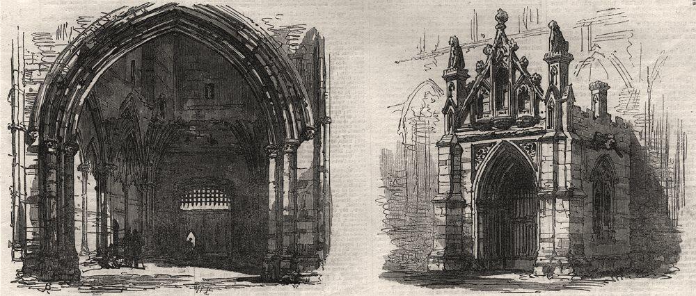 Associate Product Bury St Edmunds. Abbey Gate interior; St. Mary's Church porch. Suffolk, 1867