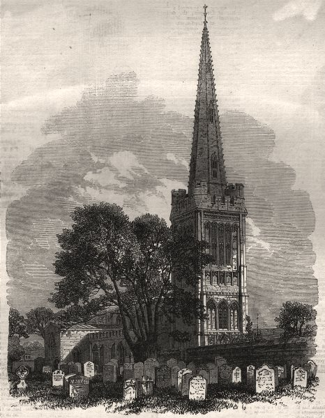 Associate Product Oundle Church, Northamptonshire, lately restored, antique print, 1864