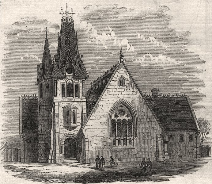 New Free School, Holburn Street, Aberdeen. Scotland, antique print, 1864