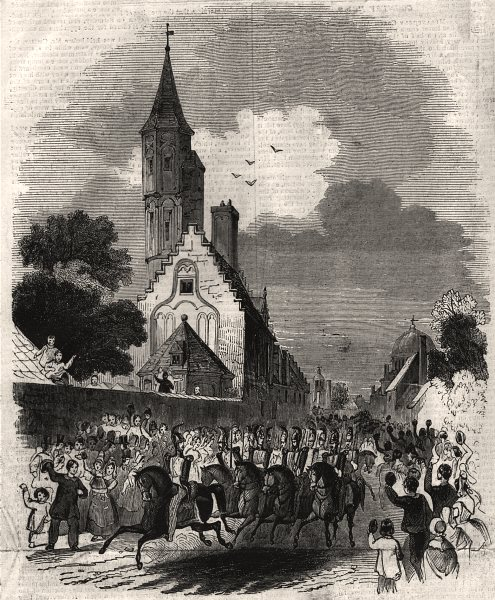 Associate Product The visit to the archery hall of St. Sebastian at Brugge. Belgium, print, 1843