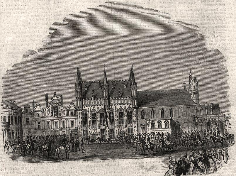 Associate Product The town hall, Brugge. Belgium, antique print, 1843