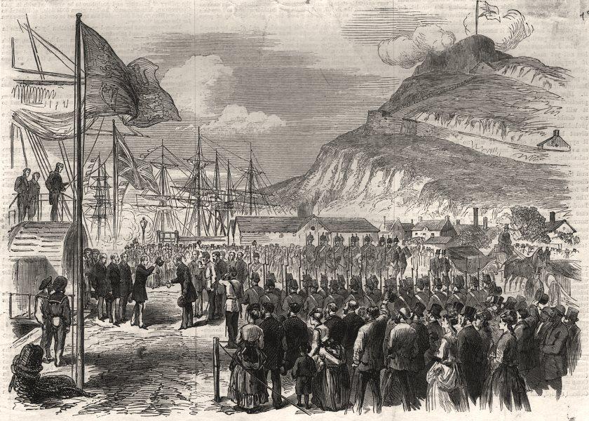 Associate Product Landing of Prince Arthur at Quebec. Canada, antique print, 1869