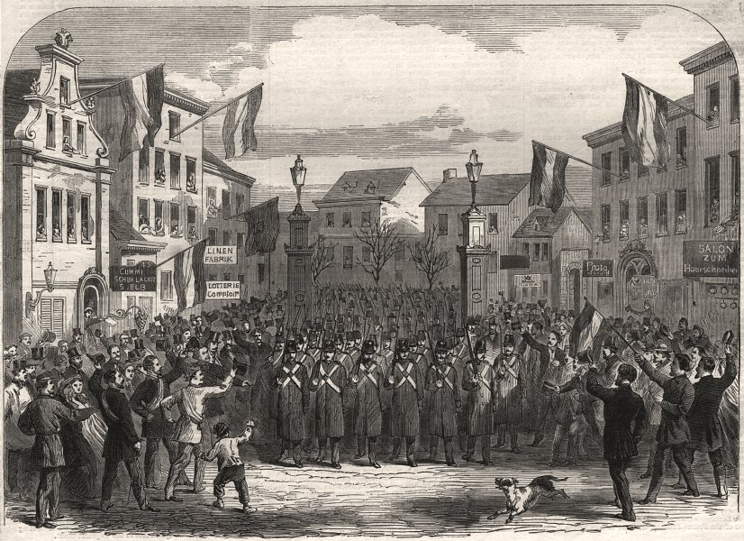 Associate Product Entry of the Federal troops into Altona through the Nobis Thor, old print, 1864