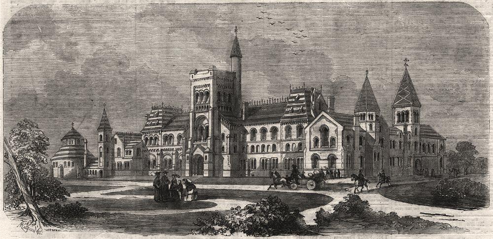 Associate Product The new University College, Toronto, Upper Canada, antique print, 1859