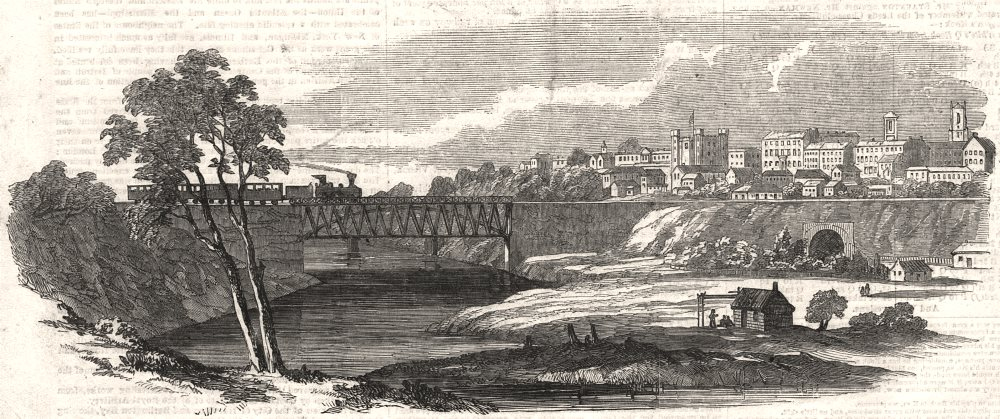 Associate Product London, Ontario, with the Great Western Railway bridge across the Thames, 1854