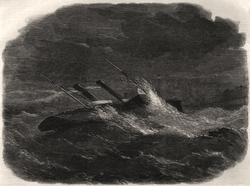 """Associate Product The """"Prince Frederick William"""" drifting ashore in Calais harbour, print, 1859"""