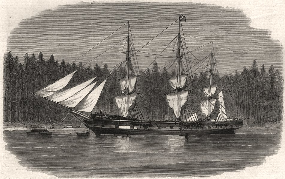 Associate Product The Wacousta loading timber for masts at Puget Sound, British Columbia, 1859